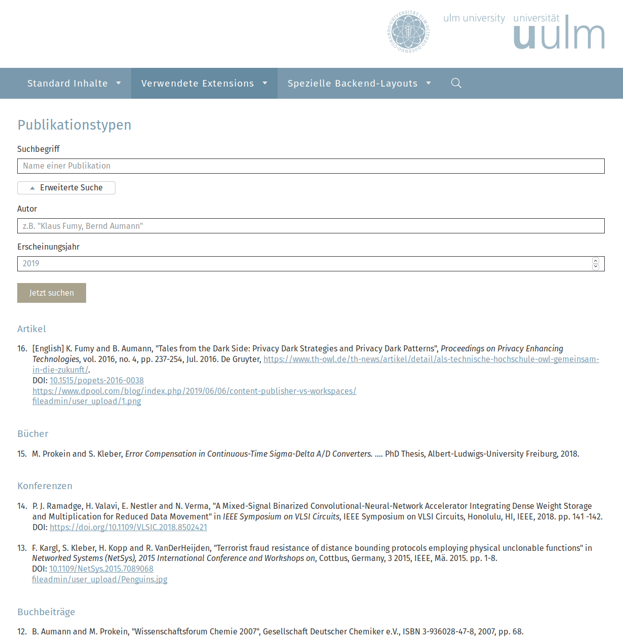 Example presentation on the website of University of Ulm