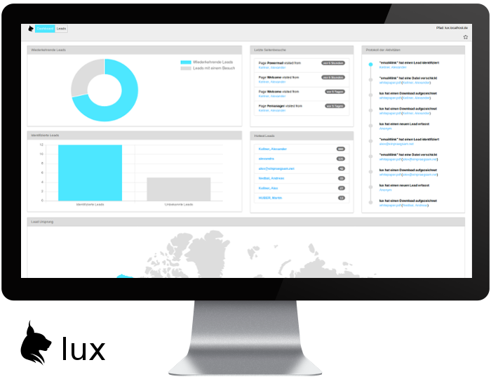 Marketing Automation Dashboard - lux und TYPO3