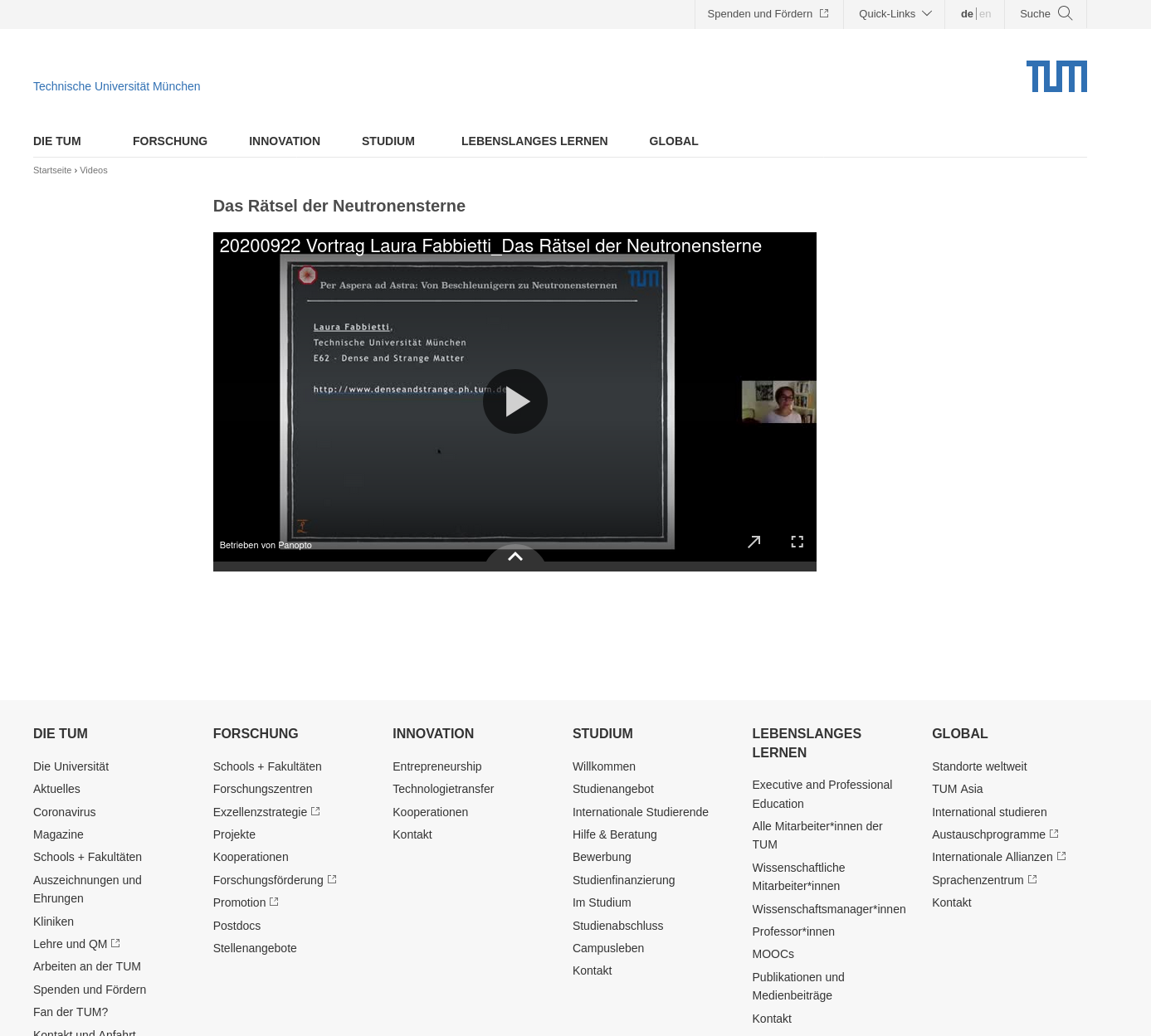 Panopto Videos in TYPO3 of tum.de